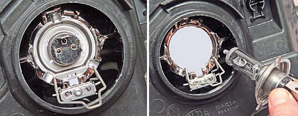 Замена ламп задних фонарей Renault Logan
